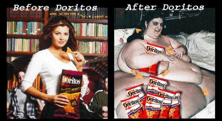 Chipsy Doritos: przed i po