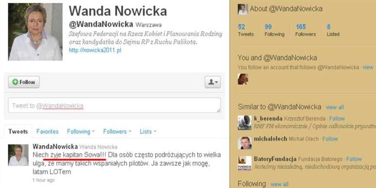 Komu gratuluje Wanda Nowicka?
