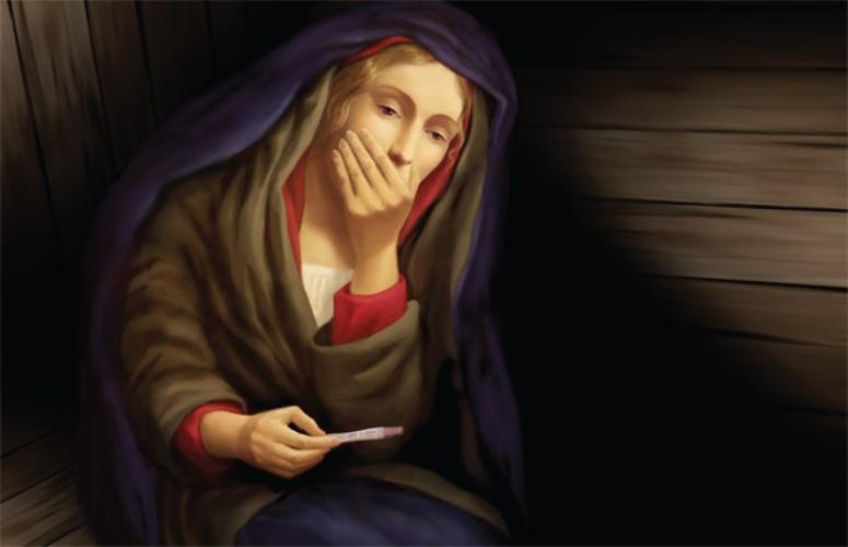 Matka Boska z testem ciążowym na billboardzie