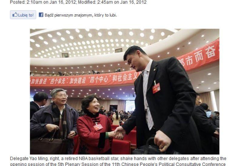 Yao Ming - prawdopodobnie najwyższy polityk na świecie