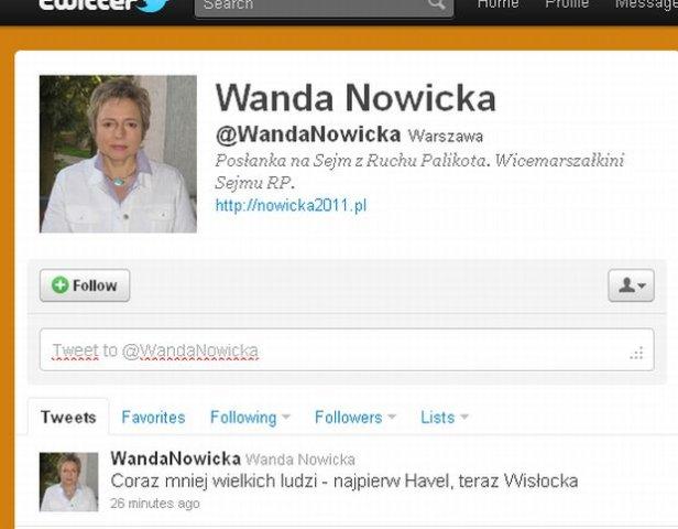 Wpadka Wandy Nowickiej na Twitterze