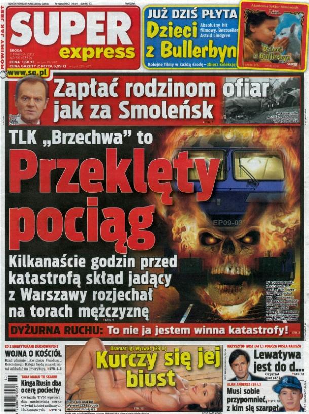 """""""Super Express"""" przesadził z ilustracją katastrofy pod Szczekocinami"""