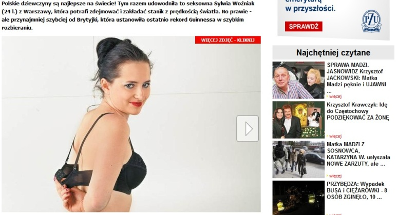Sylwia Wożniak zdejmuje i zakłada stanik najszybciej na świecie
