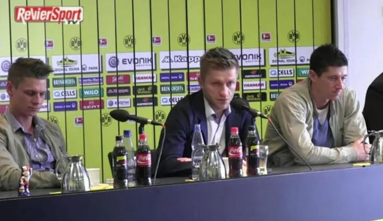 Piszczek Błaszczykowski Lewandowski mówią po niemiecku na konferencji prasowej