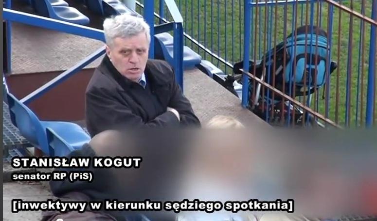 Stanisław Kogut rzuca obelgi na meczu Kolejarz Stróże - GKS Katowice