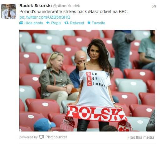 Minister Sikorski komentuje na Twitterze strój Natalii Siwiec