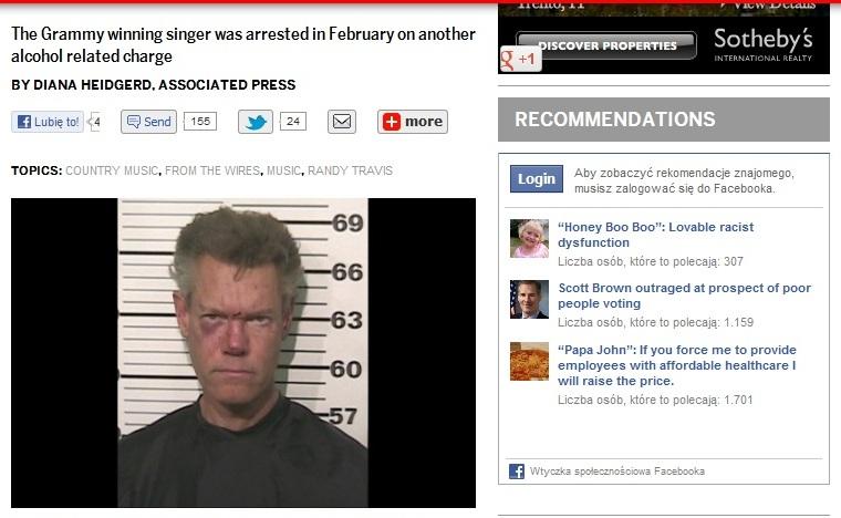 Randy Travis poszedł nago do sklepu i został aresztowany