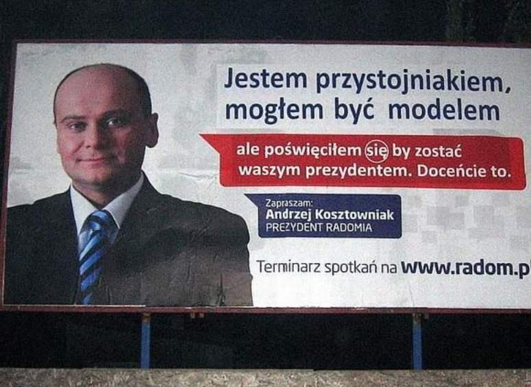 Przerobione billboardy z prezydentem Radomia - Jestem przystojniakiem