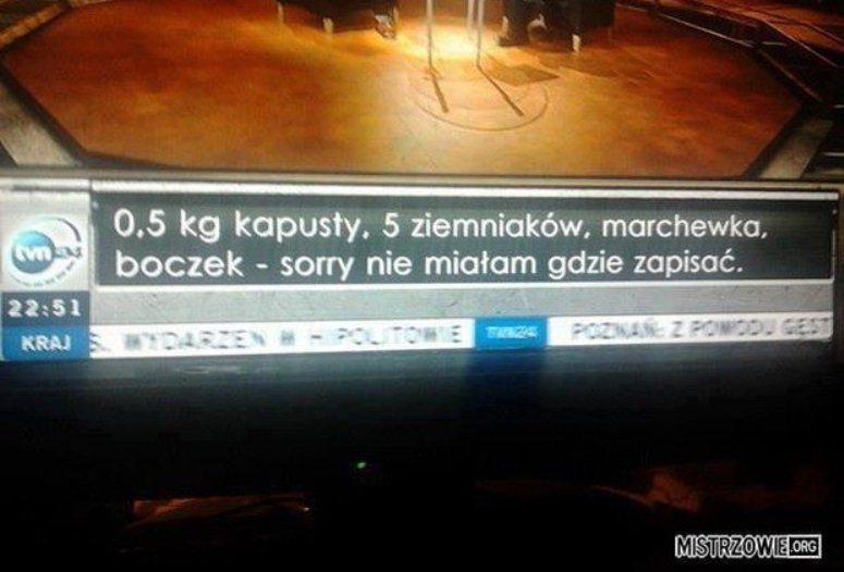 Lista zakupów na pasku w TVN 24