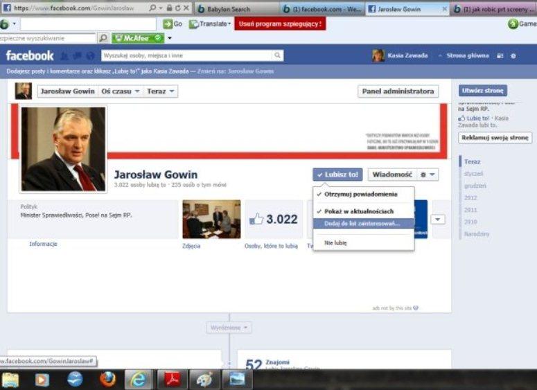 Jarosław Gowin nie może się pochwalić profesjonalną obsługą profilu na FB