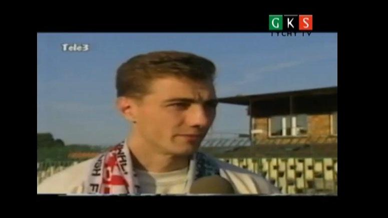 Jerzy Dudek udziela wywiadu po meczu Sokół Tychy - Siarka Tarnobrzeg