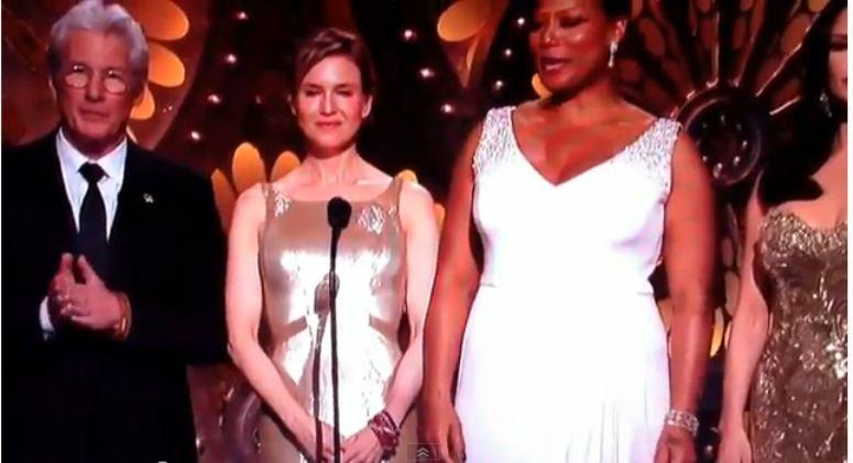 Renee Zellweger kiwa się na scenie podczas wręczenia Oscarów