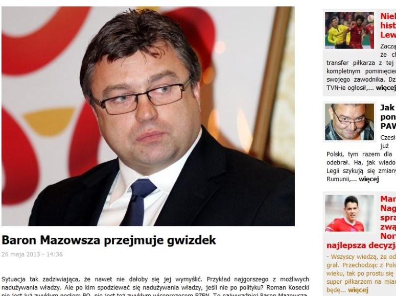 Baron Mazowsza przejmuje gwizdek - pisze portal Weszlo.com
