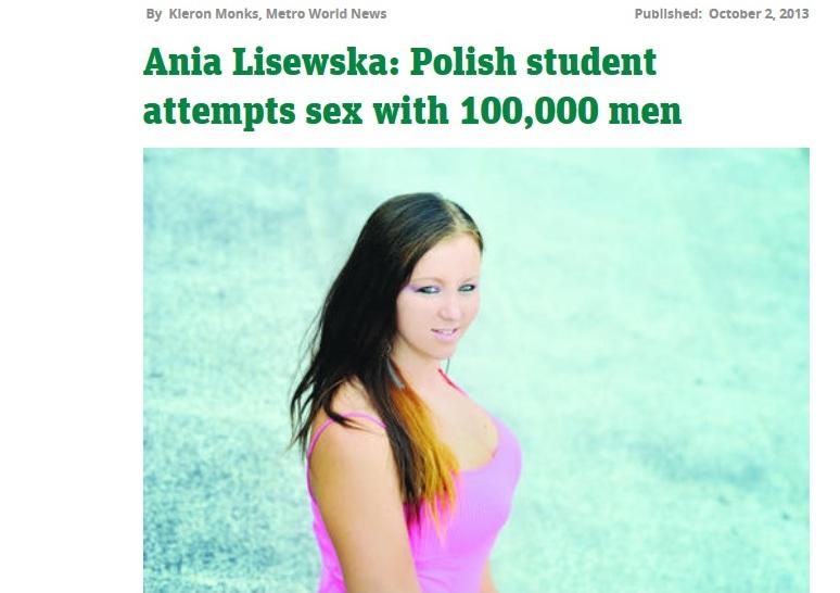 Ania Lisewska chce pobić seksualny rekord