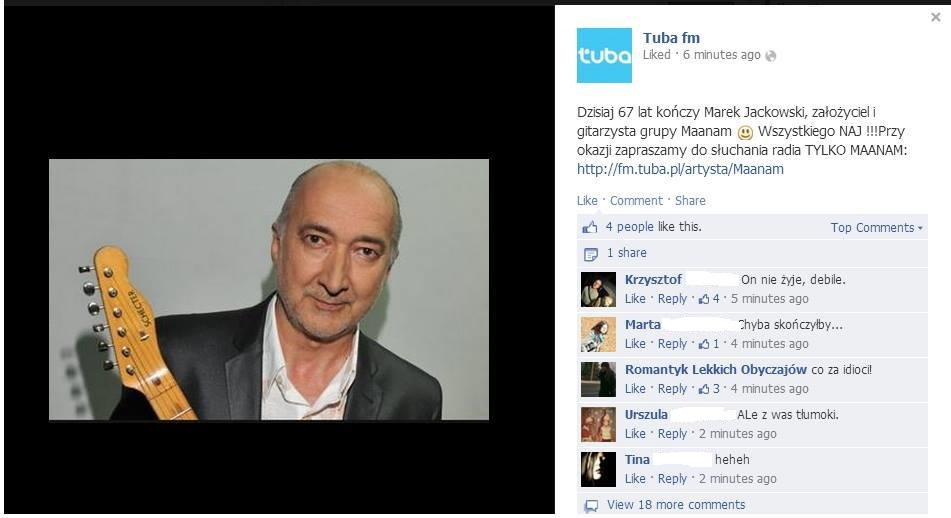 Wpadka Tuba.FM na Facebooku