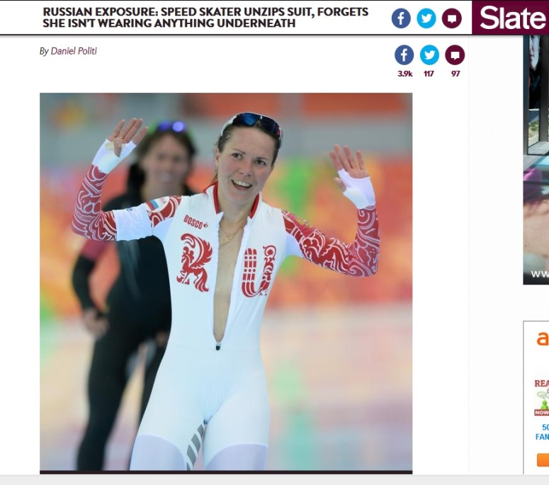 Rosyjska panczenistka Olgra Graf za bardzo rozpięła kostium?