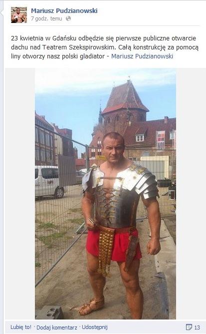 Pudzianowski w stroju Gladiatora