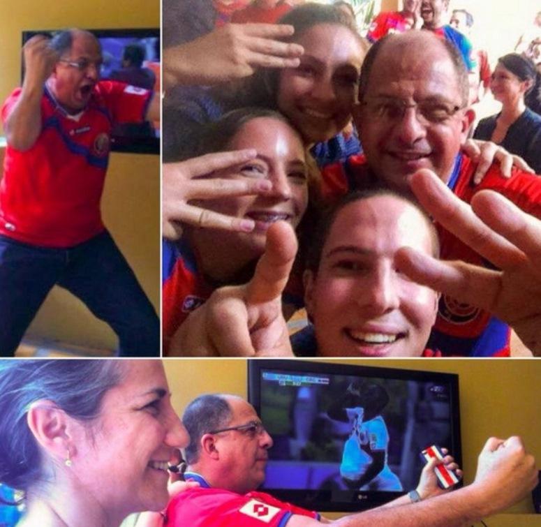 Prezydent Kostaryki ogląda z rodziną mecz z Urugwajem